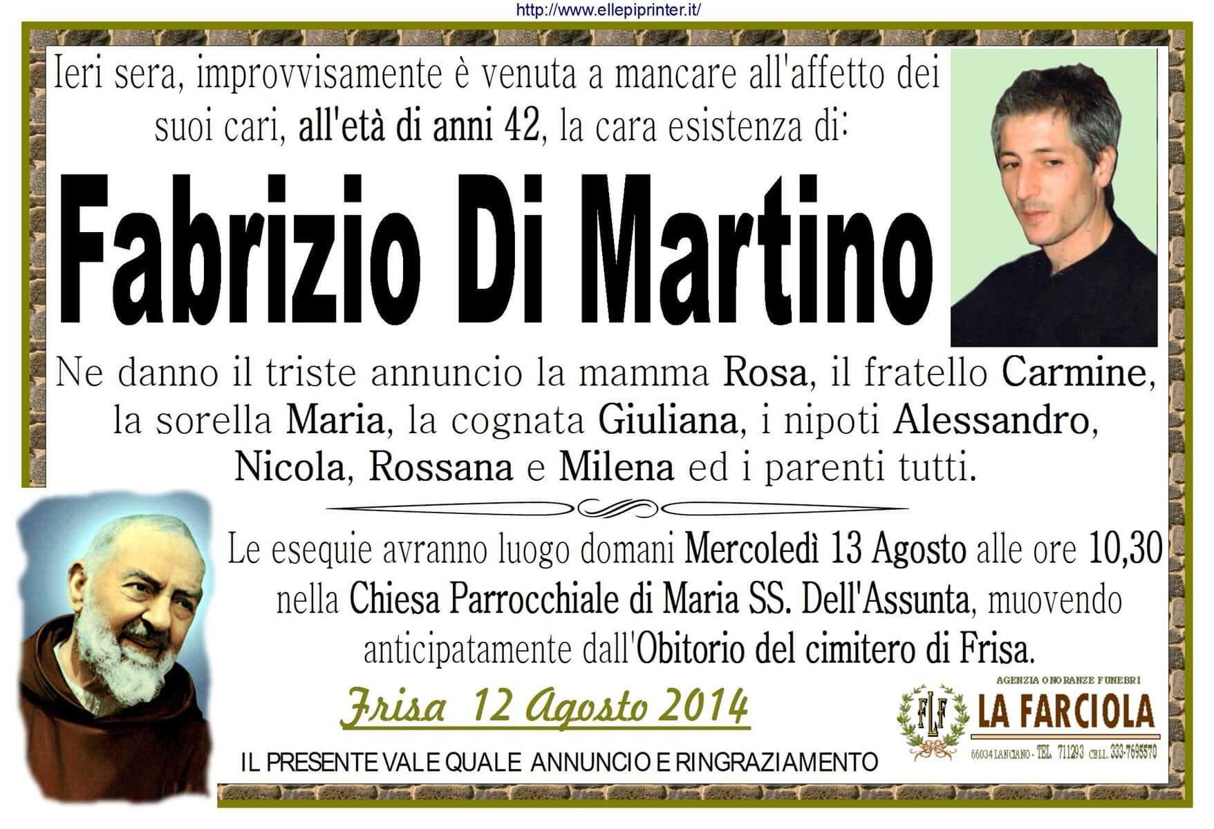 MANIFESTO Funerale FABRIZIO DI MARTINO - Agenzia funebre La Farciola & Sigismondi Lanciano