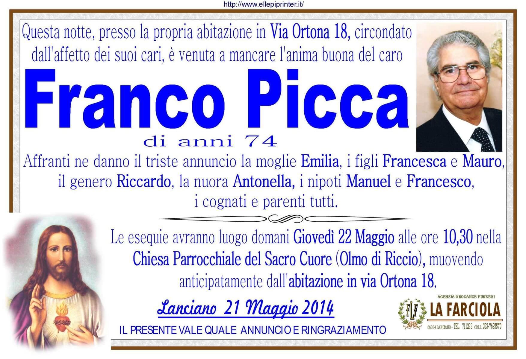 Franco Picca manifesto funerale La Farciola e Sigismondi
