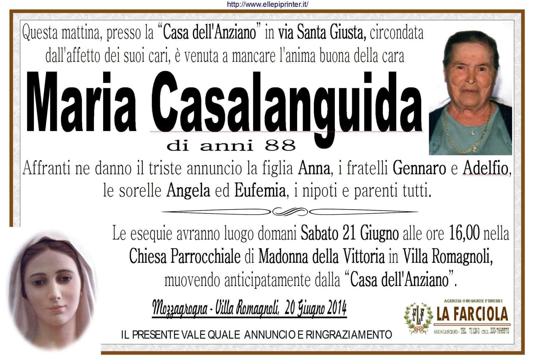 Onoranze Funebri La Farciola & Sigismondi - MARIA CASALANGUIDA
