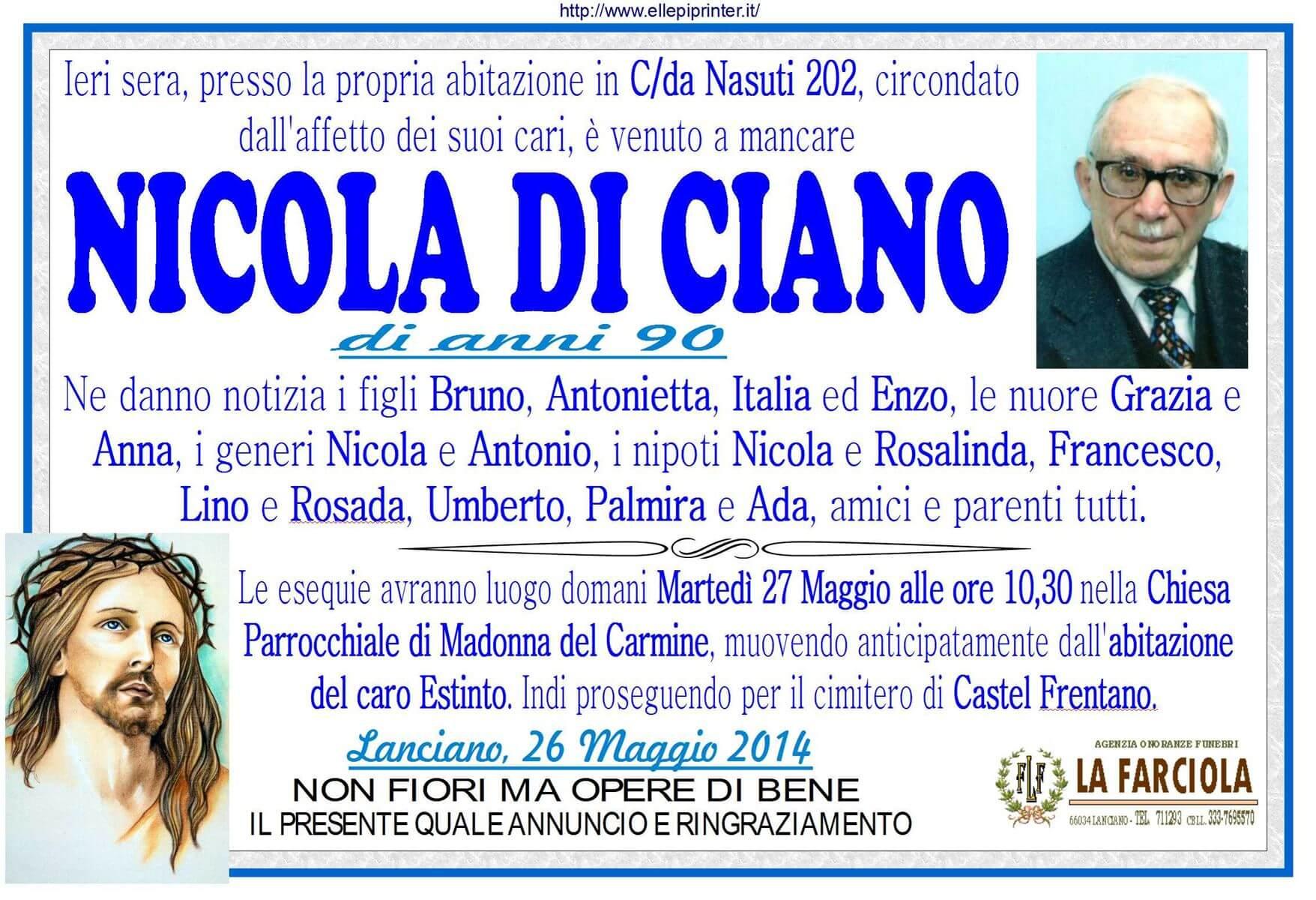 MANIFESTO NICOLA DI CIANO onoranze funebri La Farciola e Sigismondi Lanciano