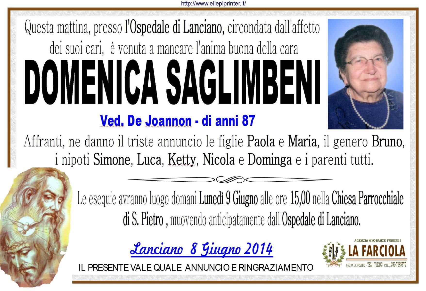 manifesto funerale SAGLIMBENI DOMENICA - Agenzia funebre Lanciano La Farciola e Sigismondi