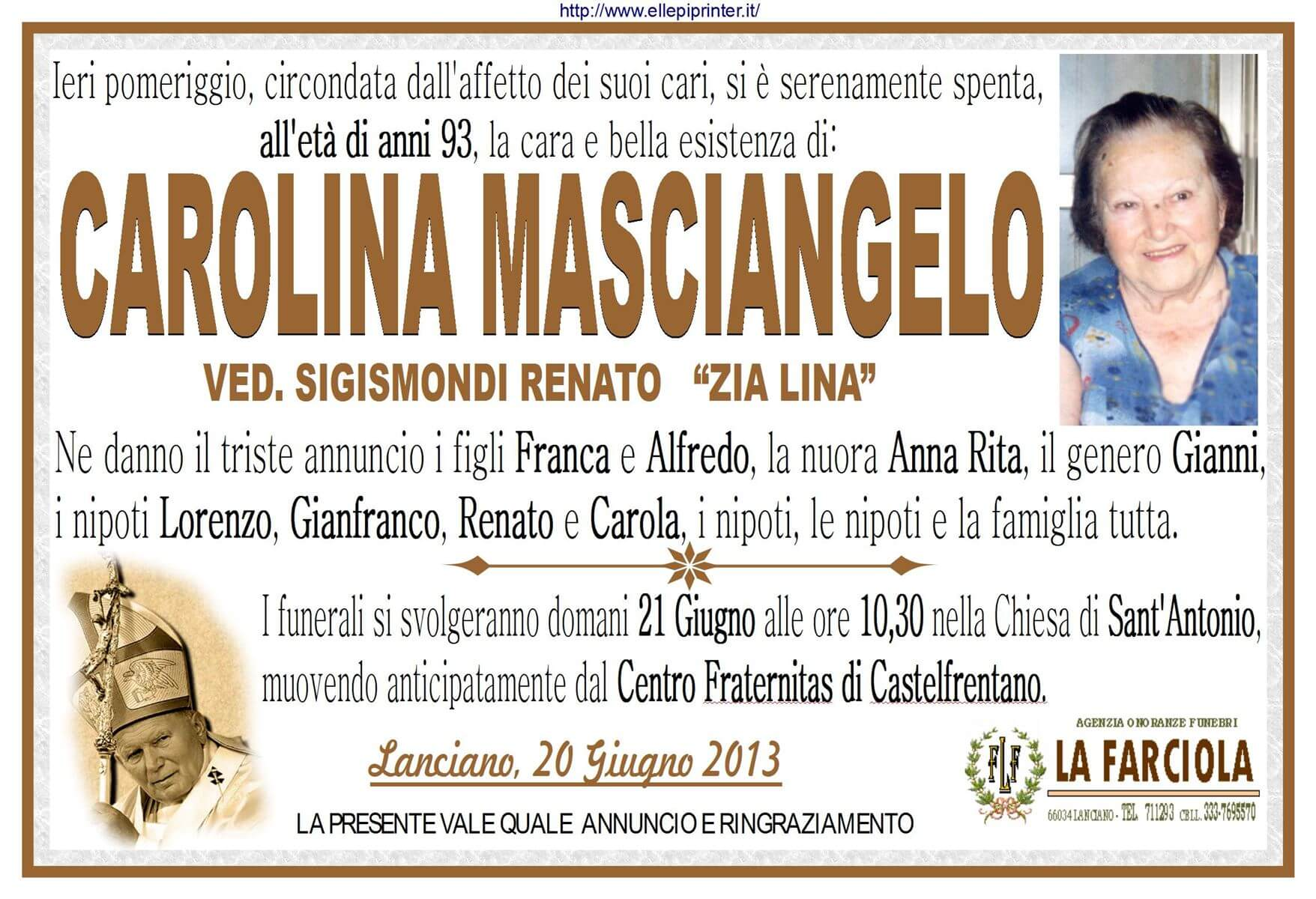 Manifesto funerale Carolina Masciangelo