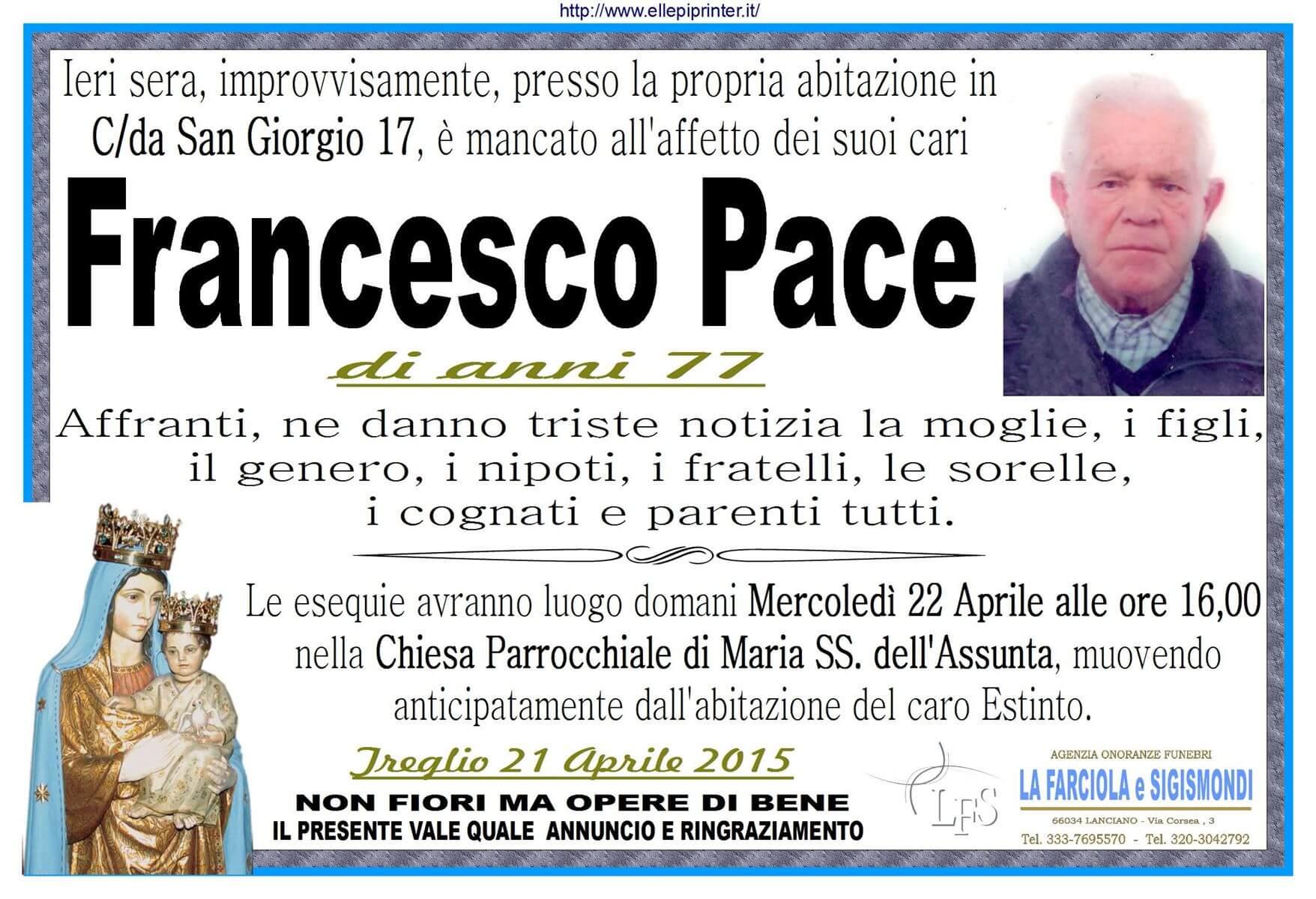 MANIFESTO PACE FRANCESCO