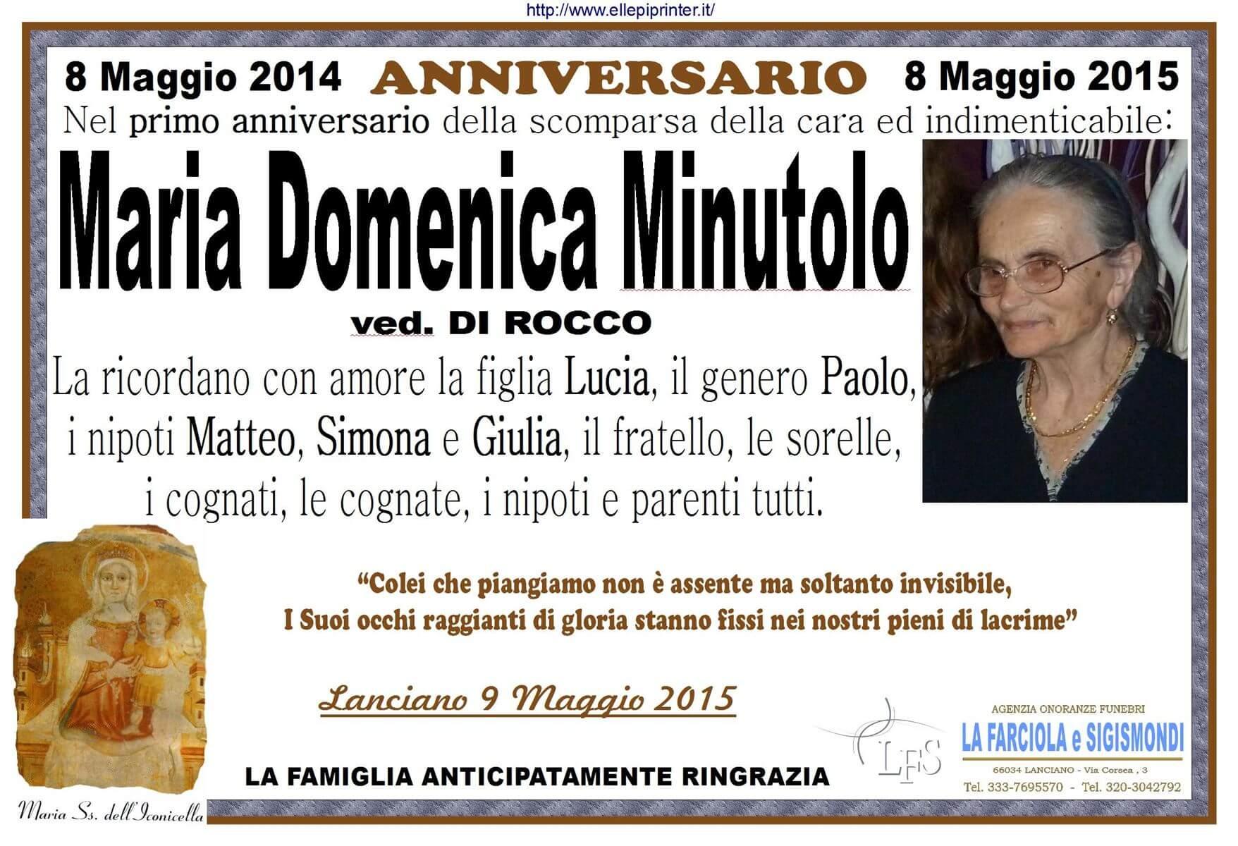 ANNIVERSARIO MARIA DOMENICA MINUTOLO 2015