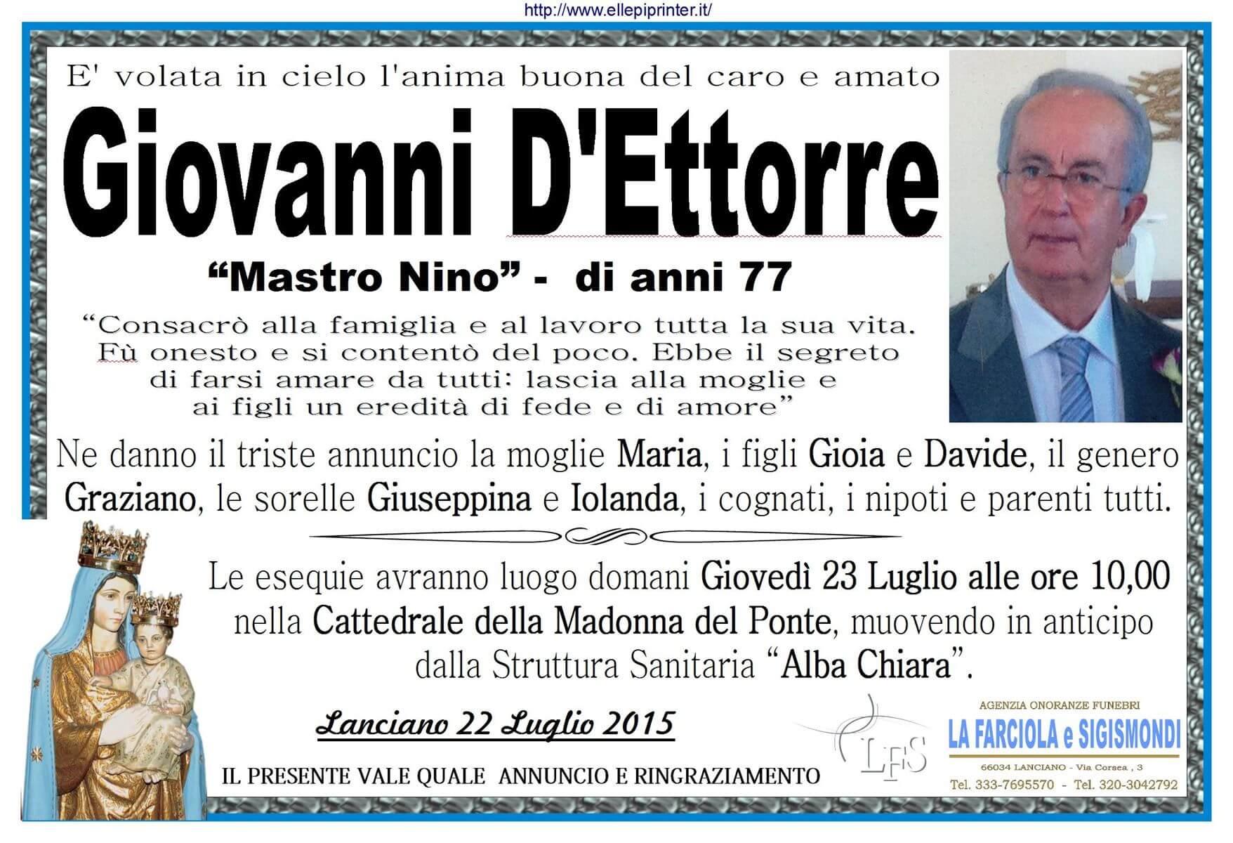 MANIFESTO D'ETTORRE NINO