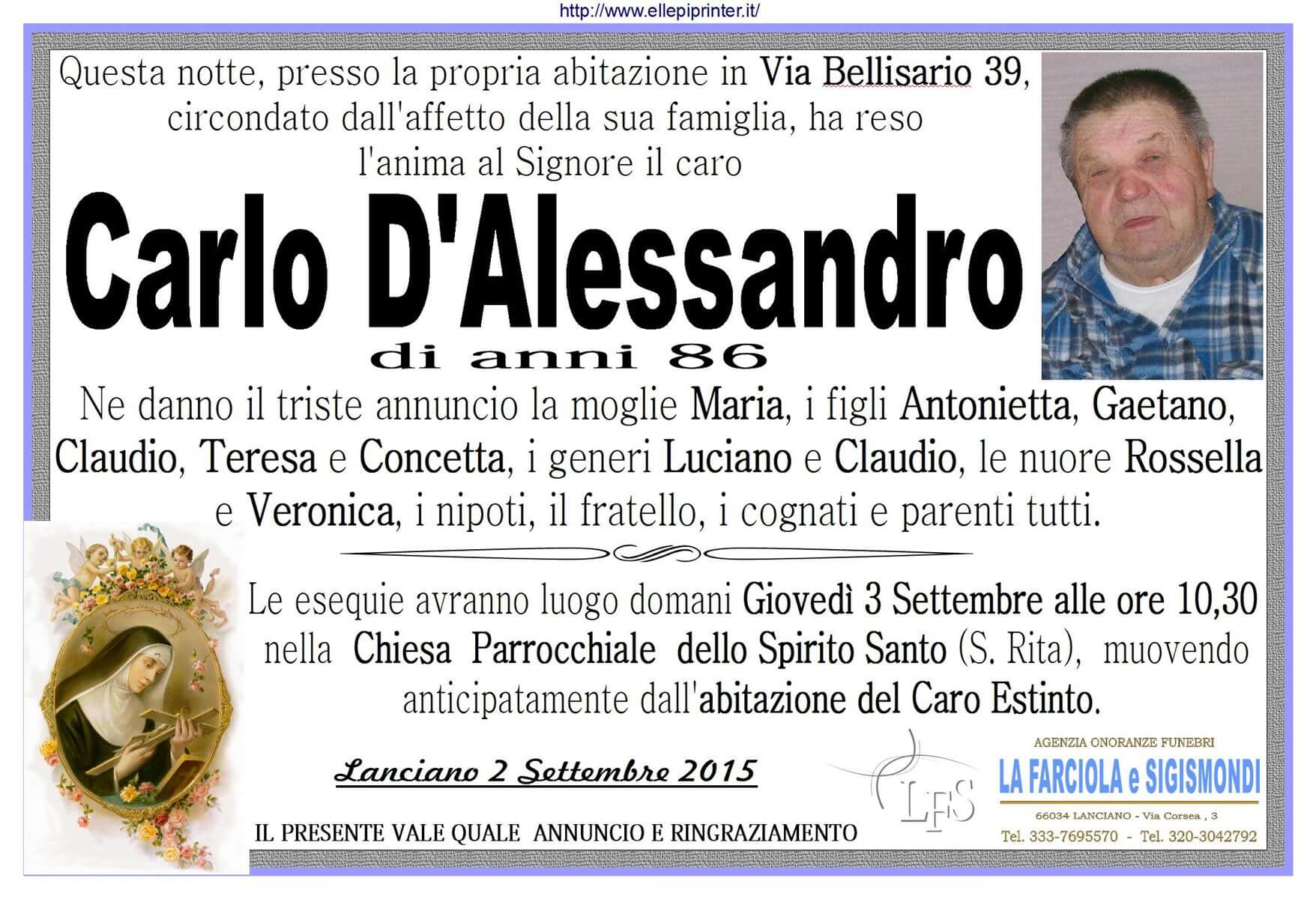 MANIFESTO D'ALESSANDRO CARLO