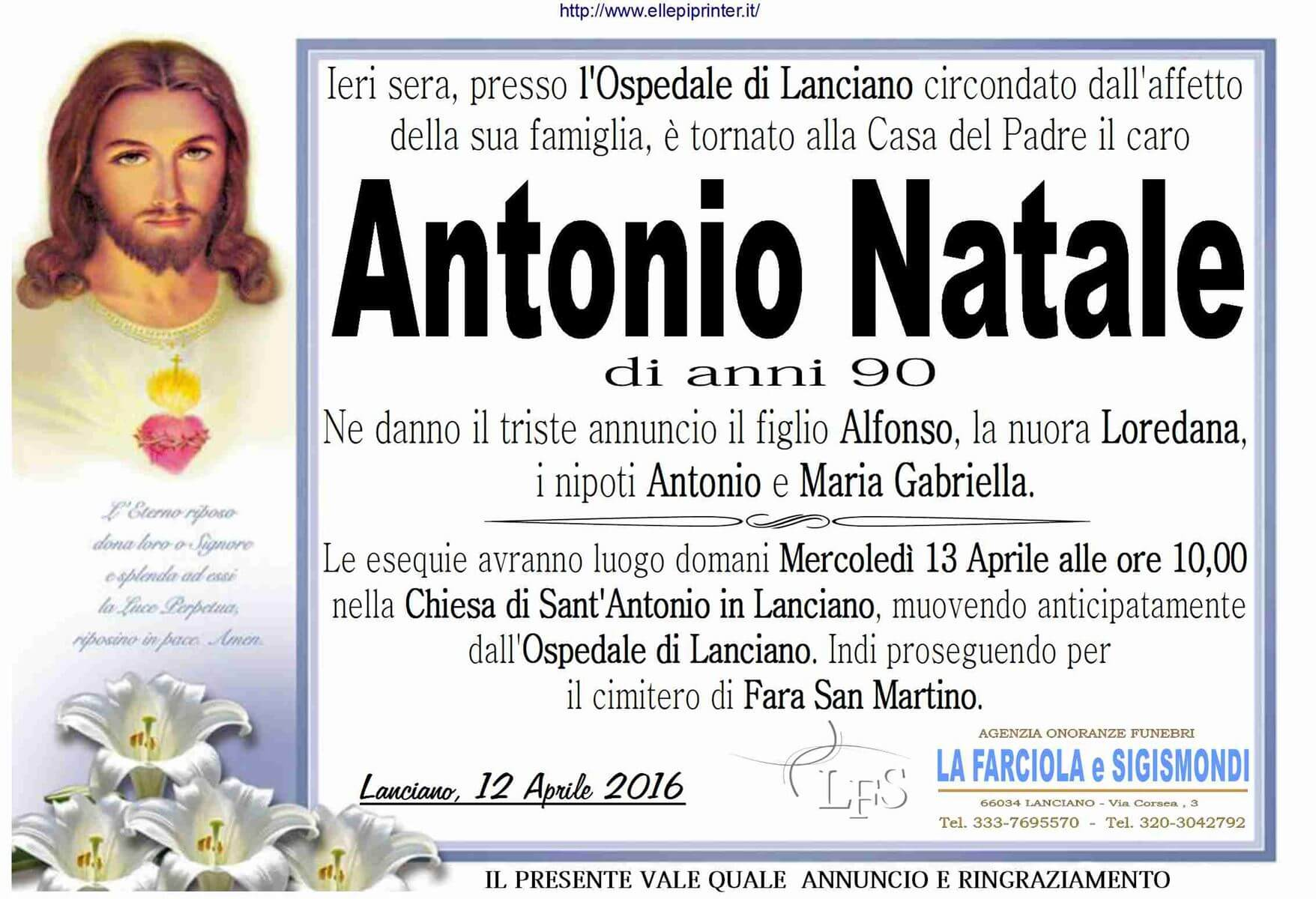 MANIFESTO NATALE ANTONIO
