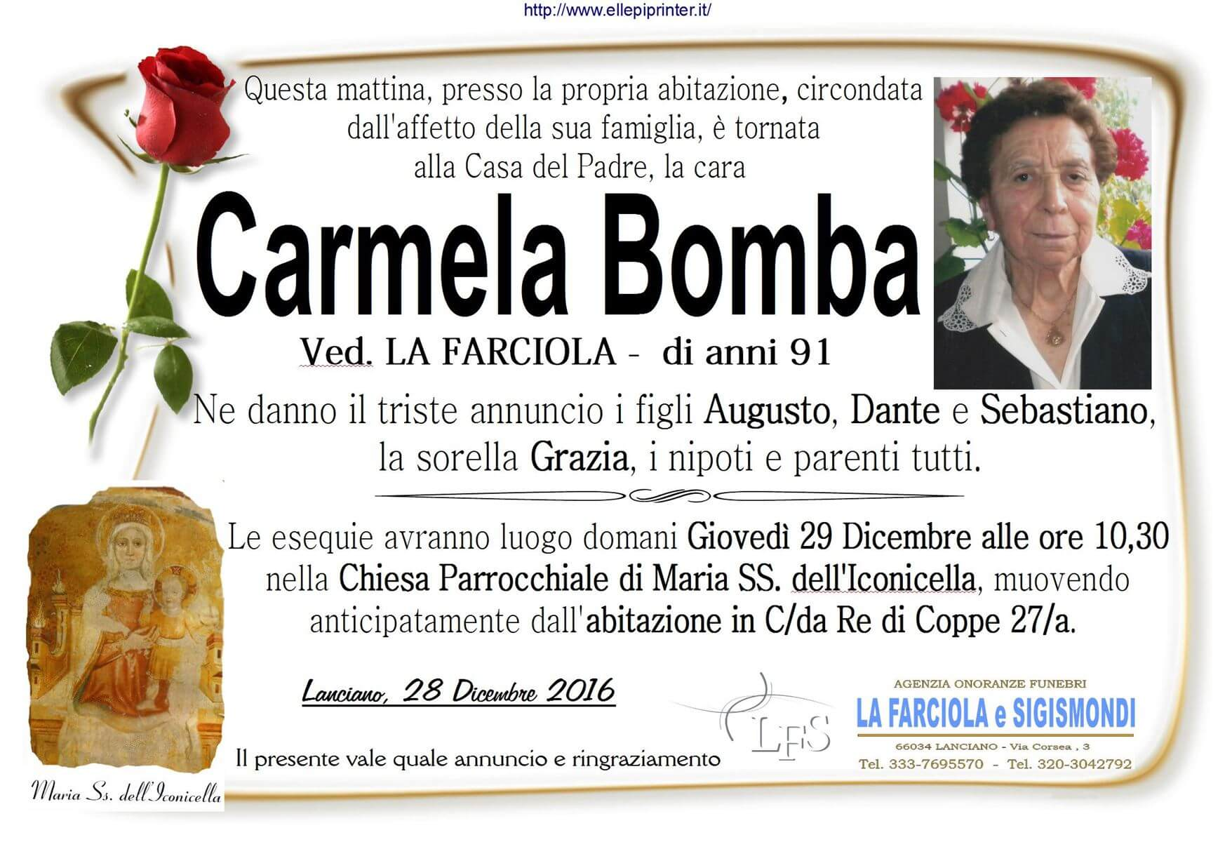 Manifesto funerale Carmela Bomba