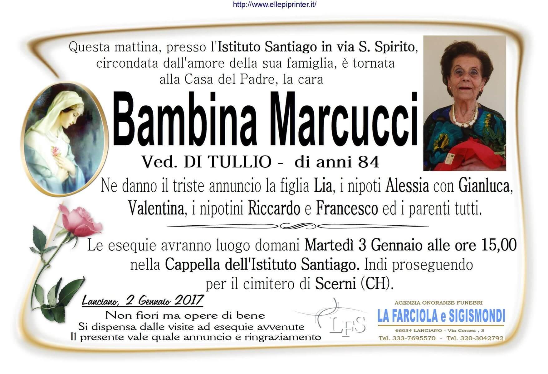 Manifesto funerale Bambina Marcucci