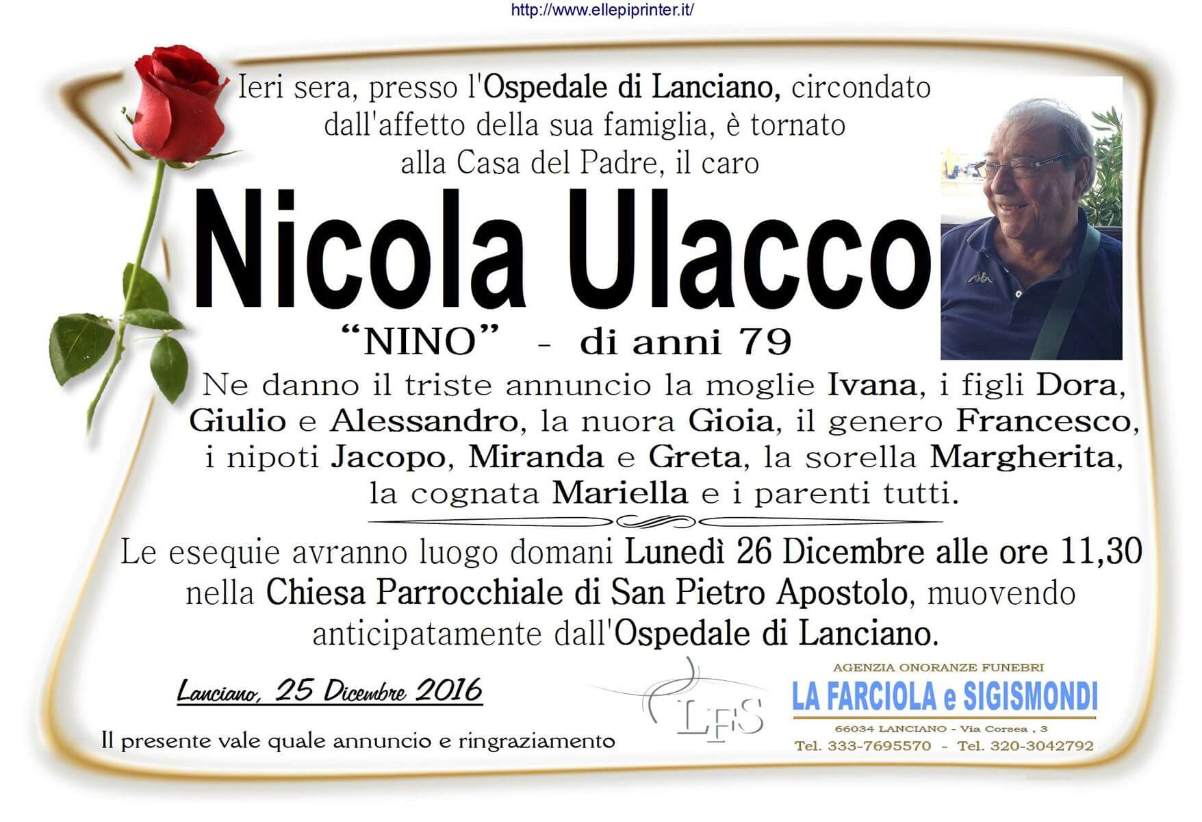 MANIFESTO FUNERALE ULACCO LANCIANO
