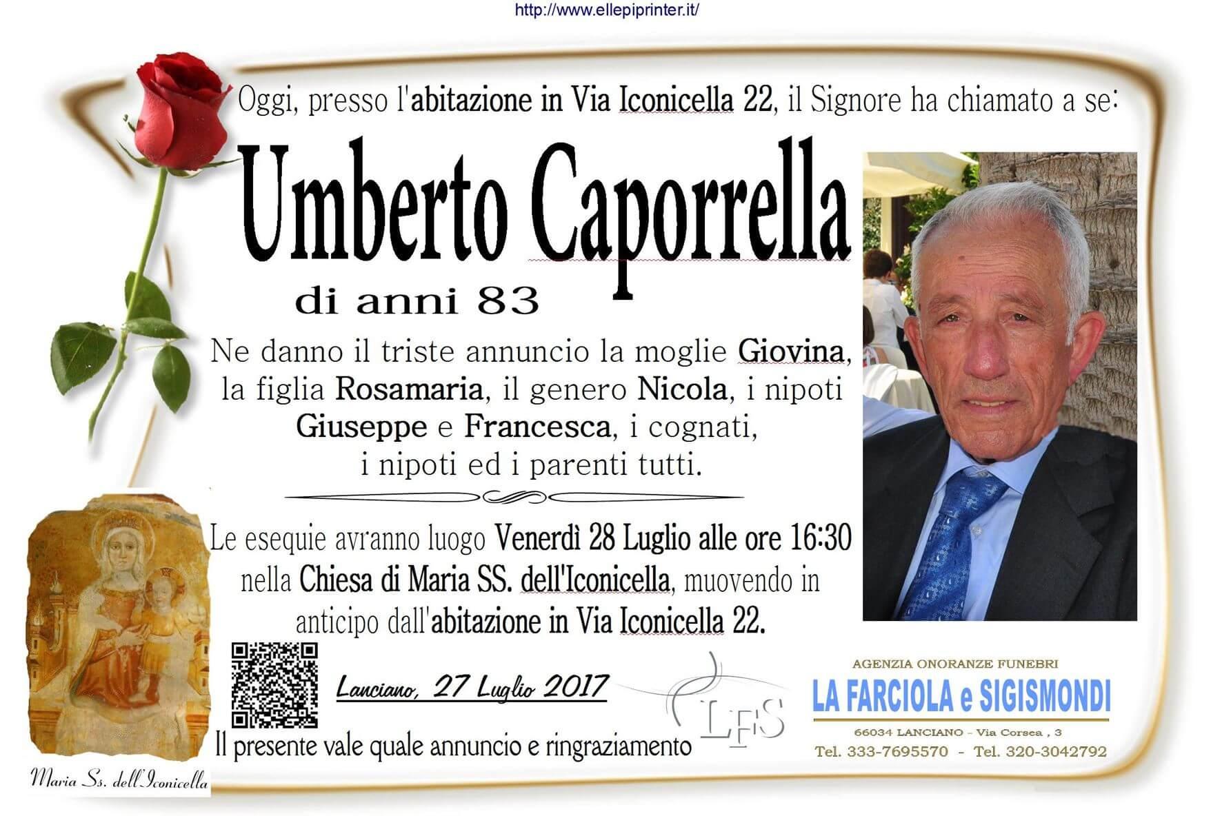 Necrologio Lanciano - Umberto Caporrella