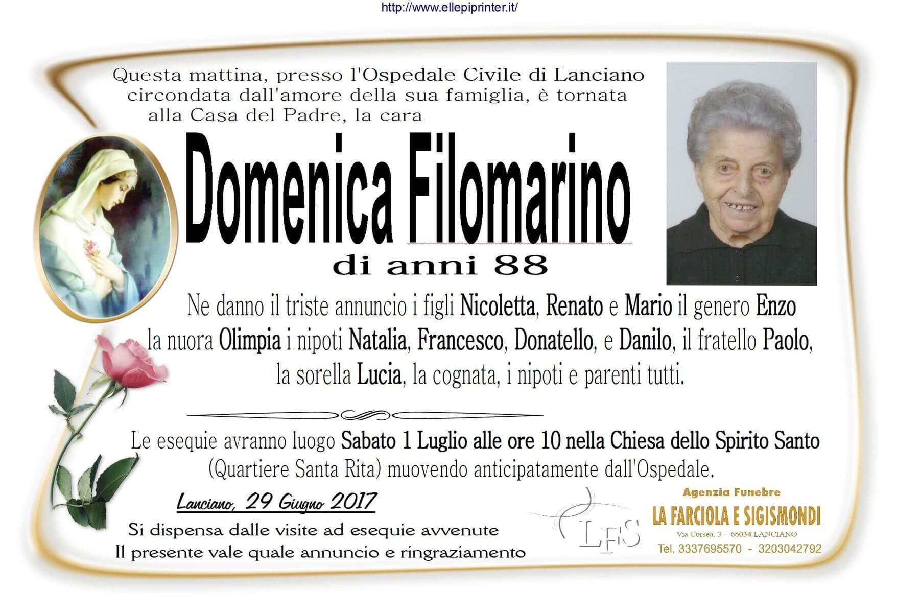 Necrologio La Farciola e Sigismondi Lanciano - Filomarino Domenica