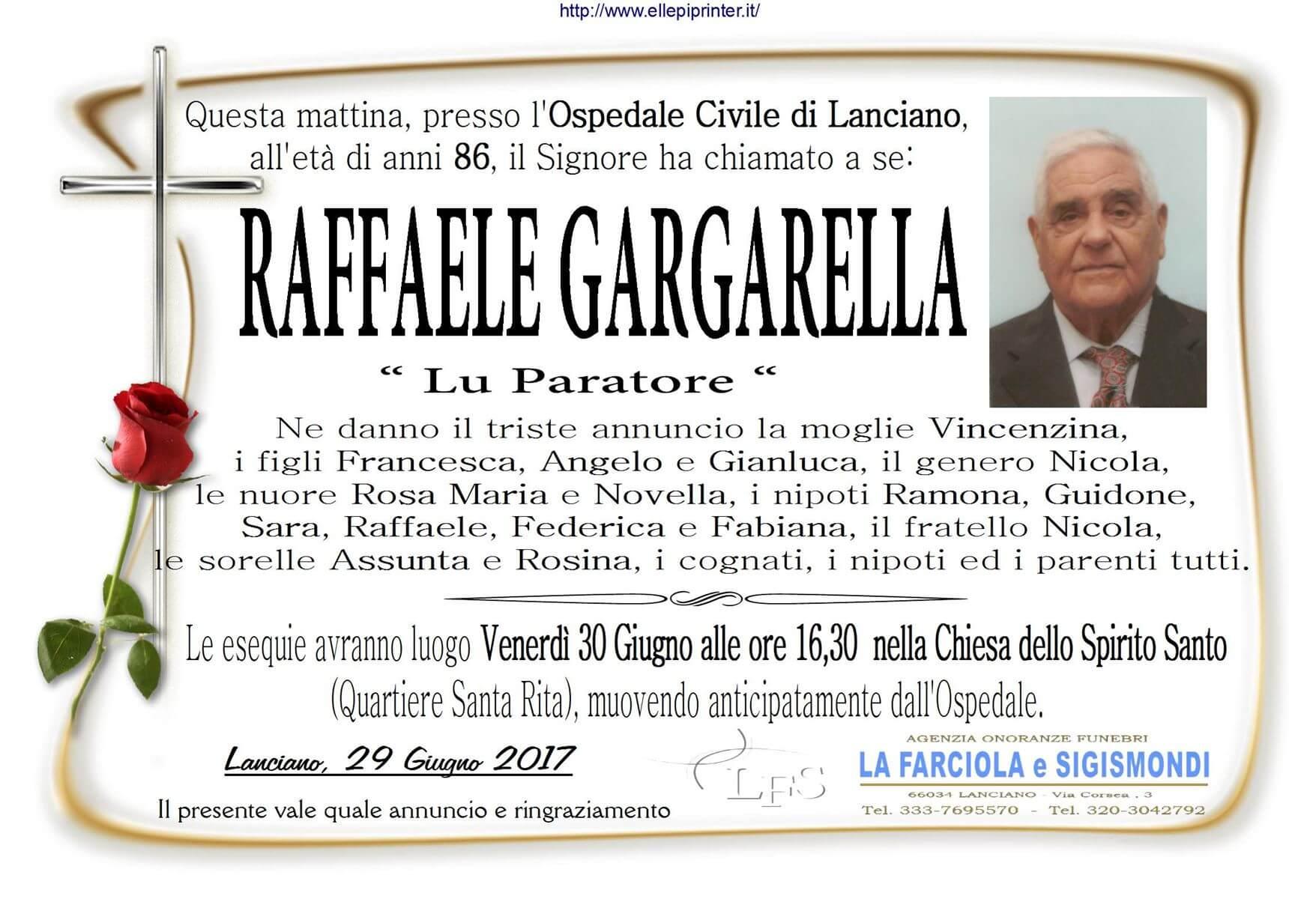 Necrologio Raffaele Gargarella Lanciano