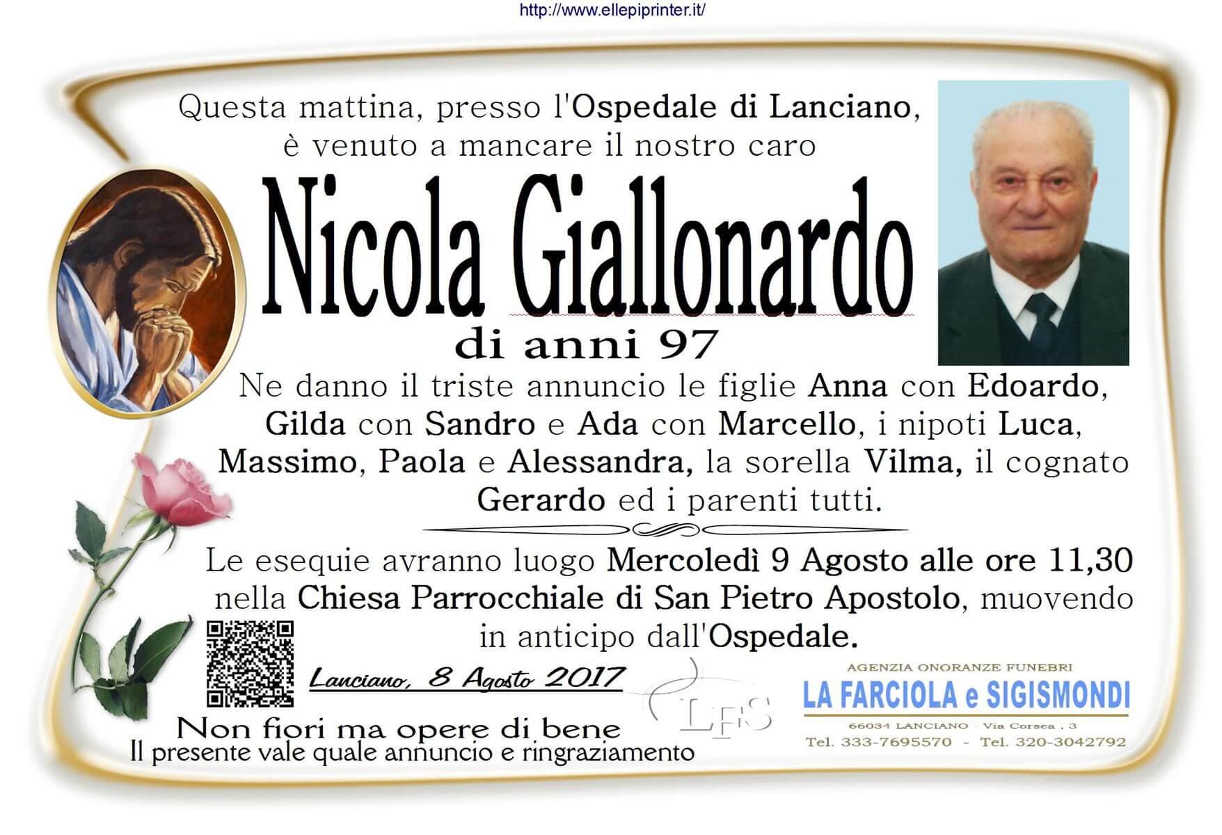 Necrologio Lanciano - Nicola Giallonardo