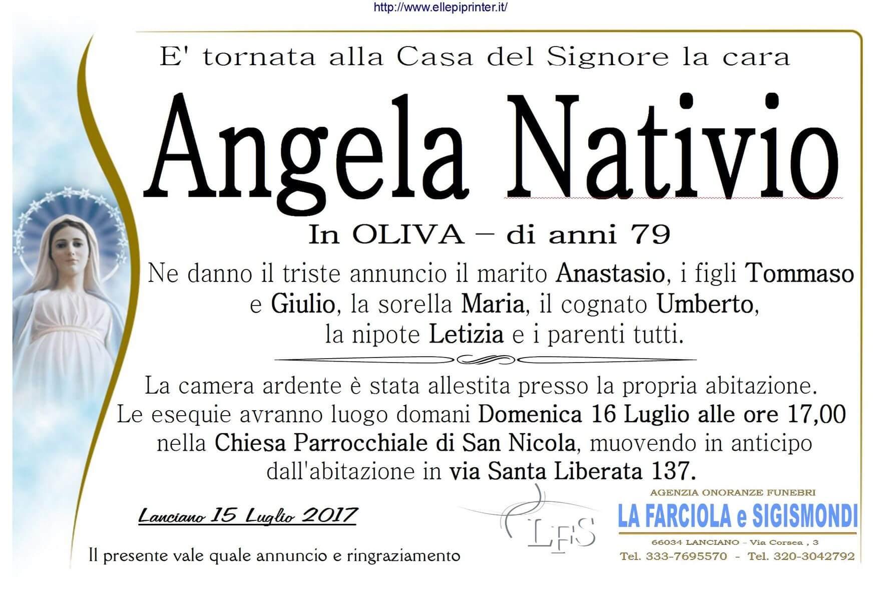 Necrologio Lanciano - Angela Nativio