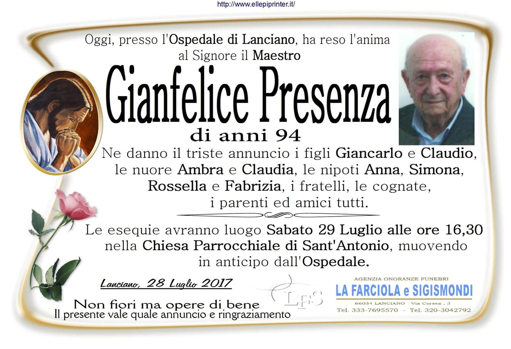 Necrologio Lanciano - Gianfelice Presenza