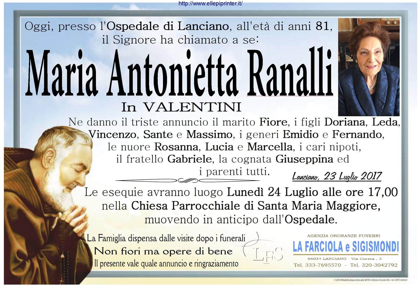 Necrologio Lanciano - Maria Antonietta Ranalli