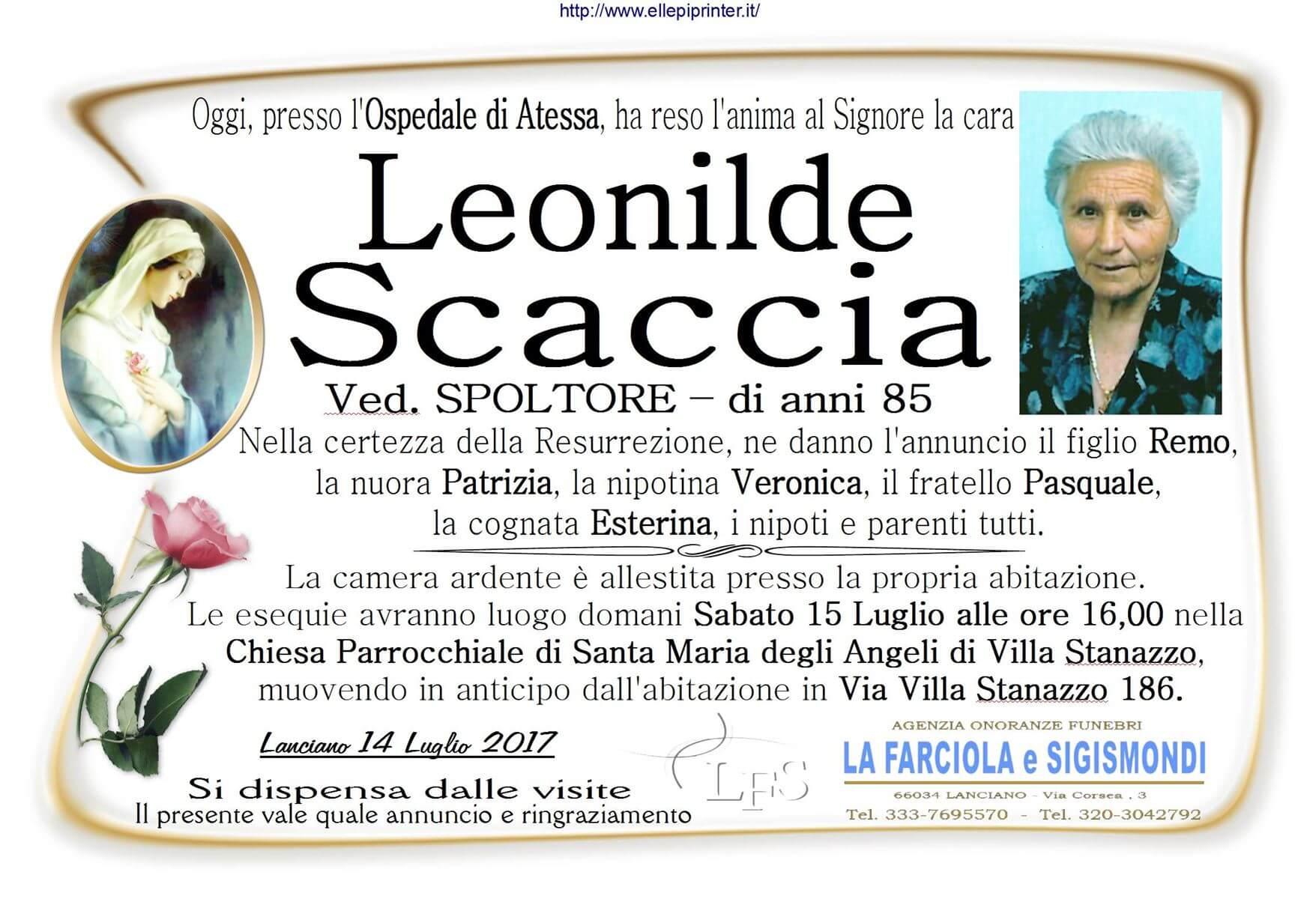 Necrologio Lanciano - Leonilde Scaccia